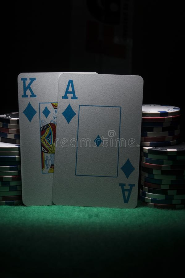 Poker chips and cards. stock photos