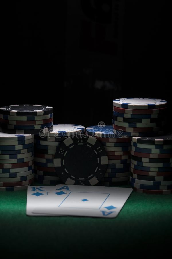 Poker chips and cards. royalty free stock photo