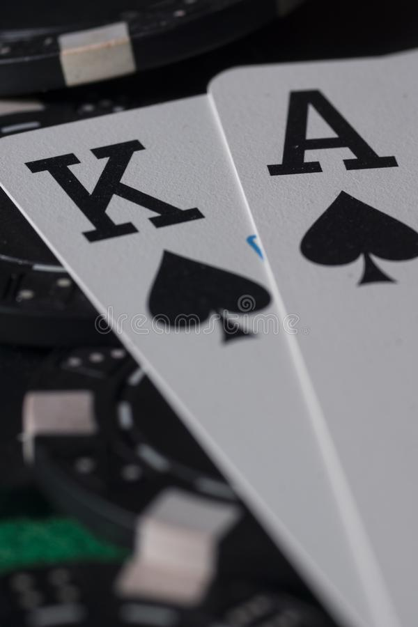 Poker chips and cards. royalty free stock image