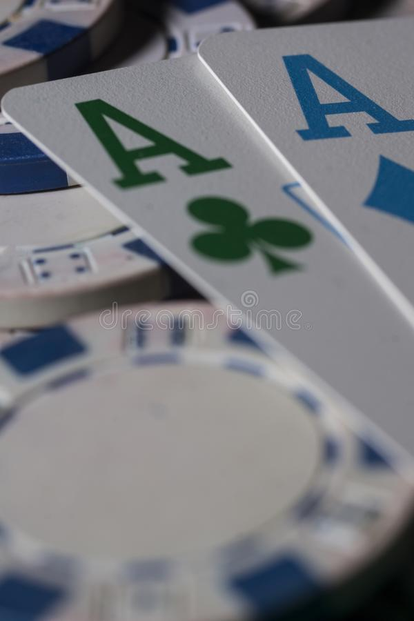 Poker chips and cards. stock photo