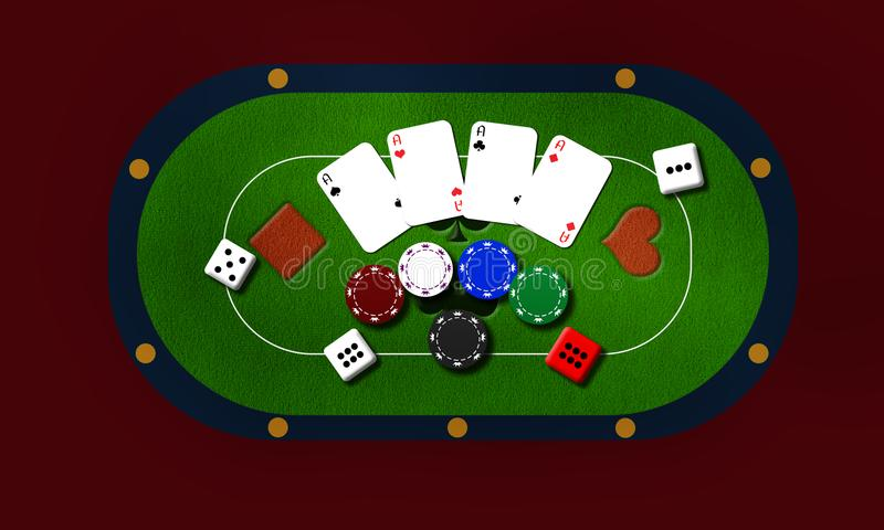 Background gambling with cards and chips. Poker Chips in casino gamble green table, gambling background royalty free illustration