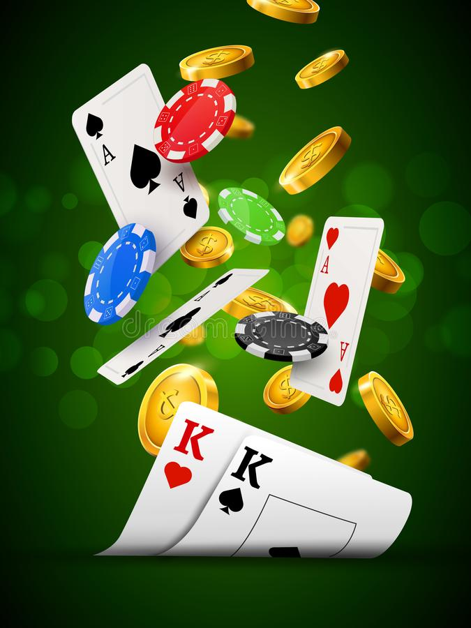 Poker chips casino green poster. Gamble cards and coins success winner royal casino background royalty free illustration
