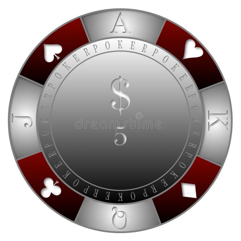 POKER CHIPS 5$ CASINO` royalty free illustration