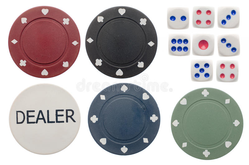 Poker chips and dice royalty free stock images