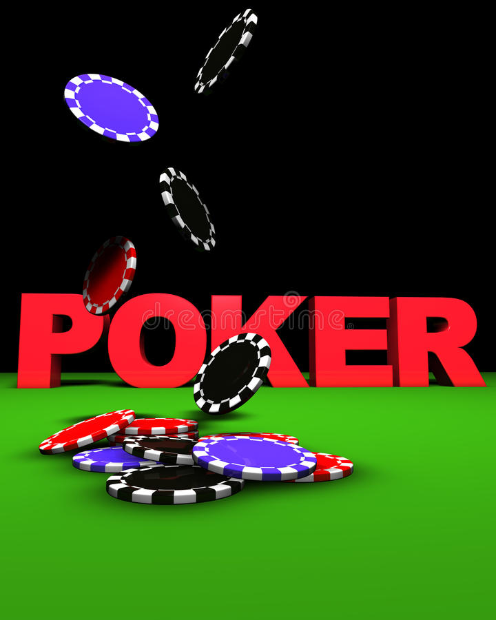 Poker Chips Fall. 3d rendering of poker sign and colored chips falling on a green table. Great background for magazines, banners, webpages, flyers, etc royalty free illustration