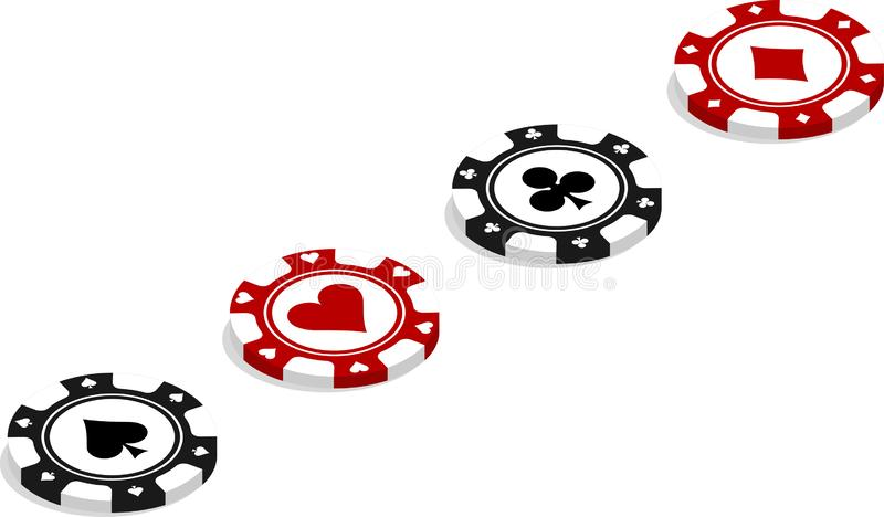 Poker chips placed diagonally royalty free illustration