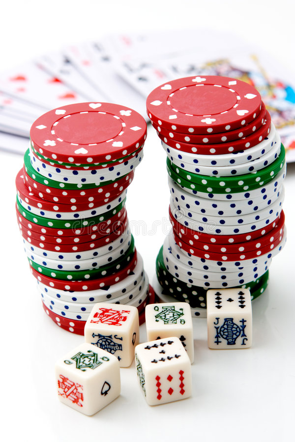 Poker chips & roulette. royalty free stock photography