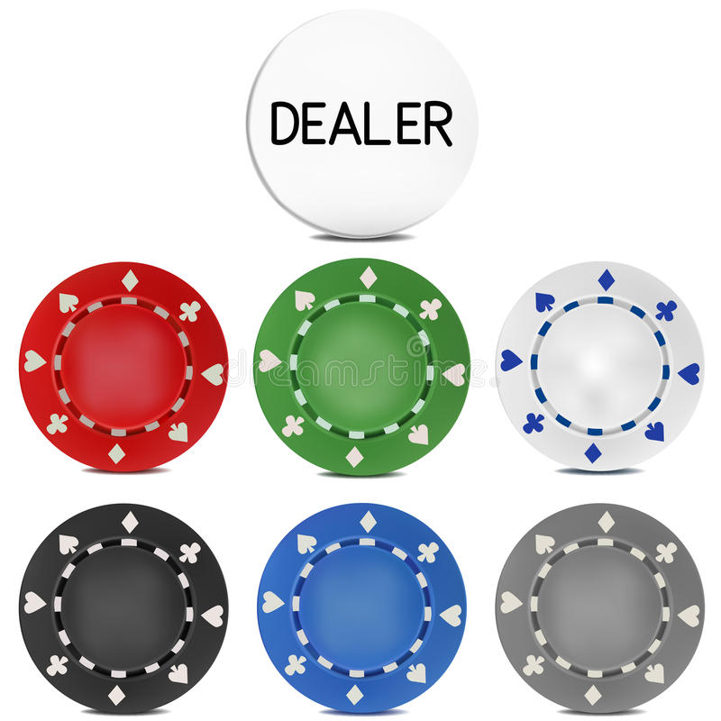 Free Poker Chips Set With Dealer Button. Vector Illustration Royalty Free Stock Photography - 65047267