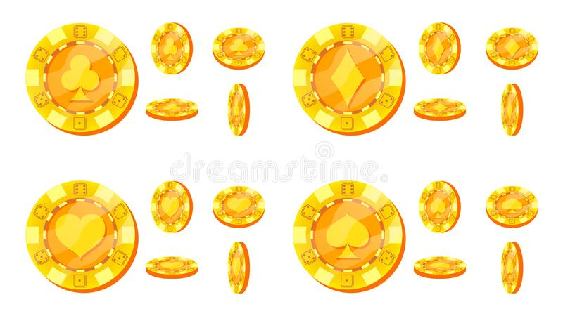 Poker Chips Vector. Card Suits Sign. Flat, Cartoon Set. Gold Poker Game Chips Isolated On White Background. Flip vector illustration