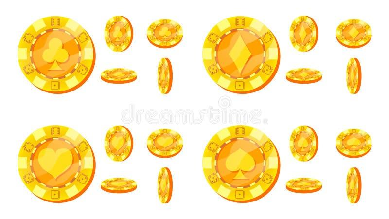 Poker Chips Vector Kortet passar tecknet Lägenhet tecknad filmuppsättning Guld- pokerlek Chips Isolated On White Background flip vektor illustrationer