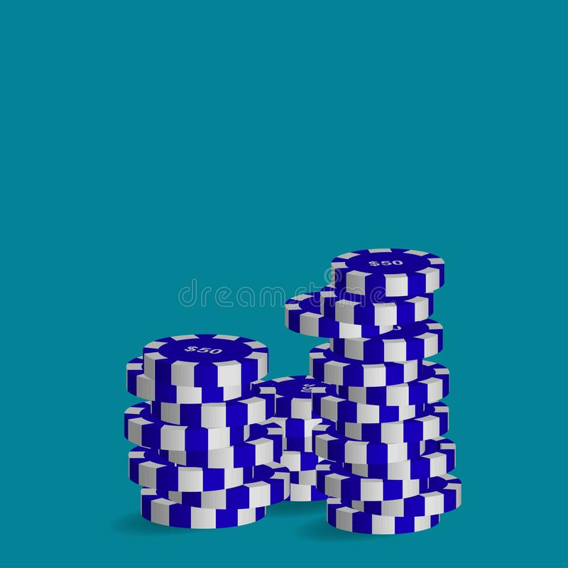 Poker chips worth fifty dollars. stock illustration