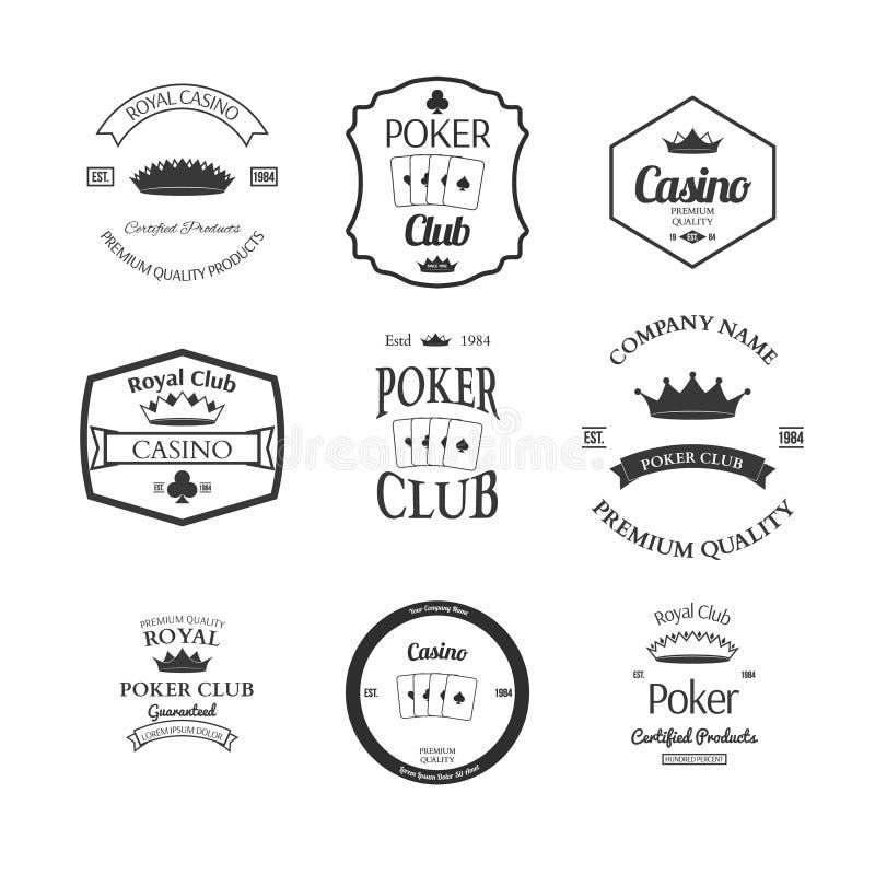 Poker club and casino emblems set isolated vector. Illustration stock illustration
