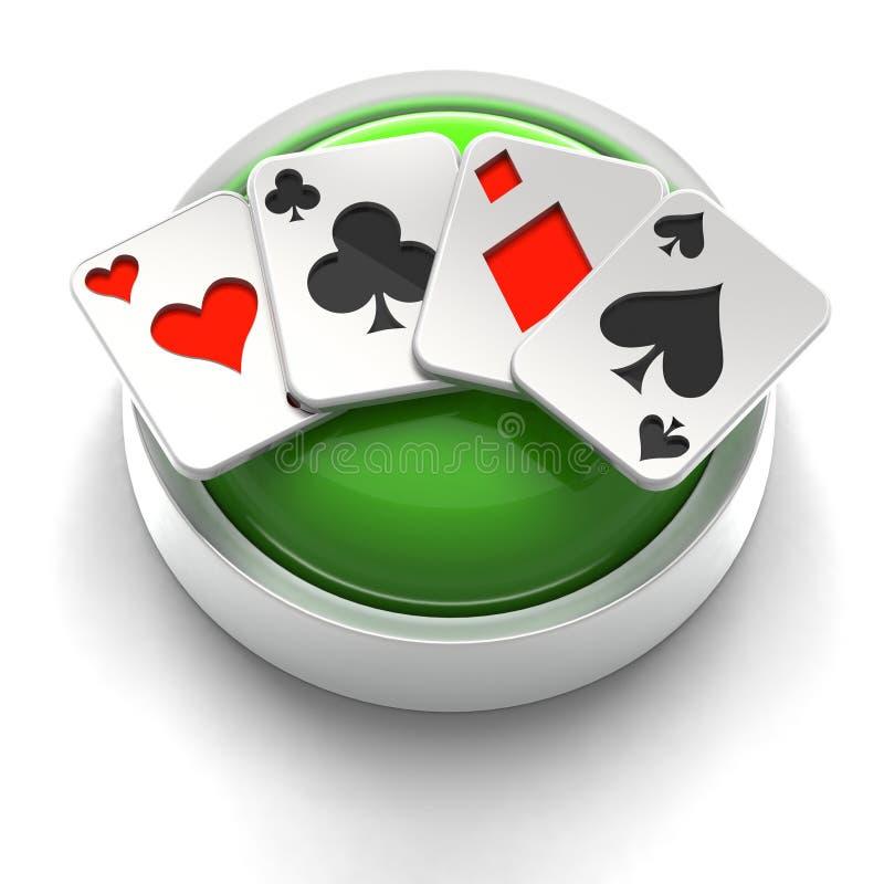 poker för överdängareknappsymbol stock illustrationer