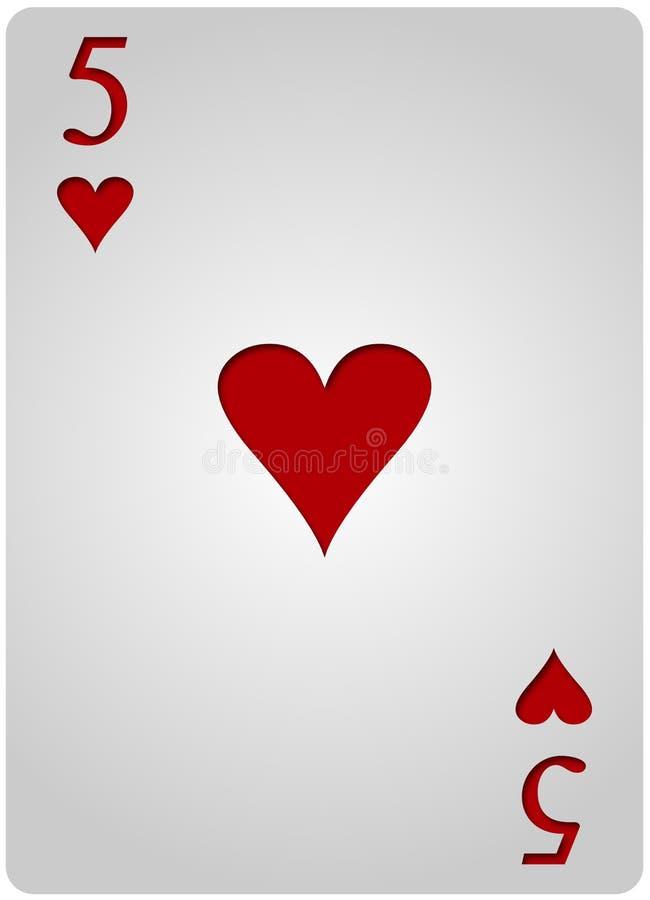 Poker för fem korthjärtor royaltyfri illustrationer