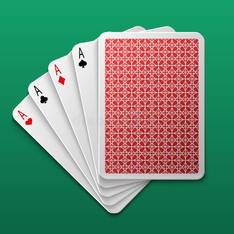 Poker för fyra överdängare som spelar kortet på den modiga tabellen För segervågspel för kasino stor bakgrund för vektor royaltyfri illustrationer