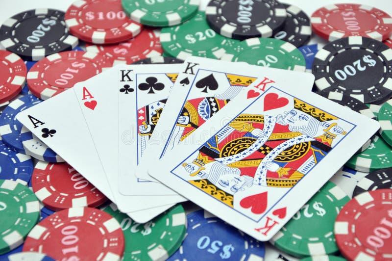 poker för kortchiputsålt royaltyfri fotografi