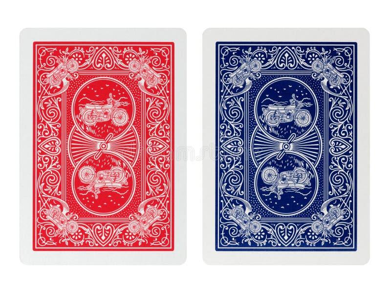 Poker för tillbaka sida som spelar isolerade kort royaltyfria bilder