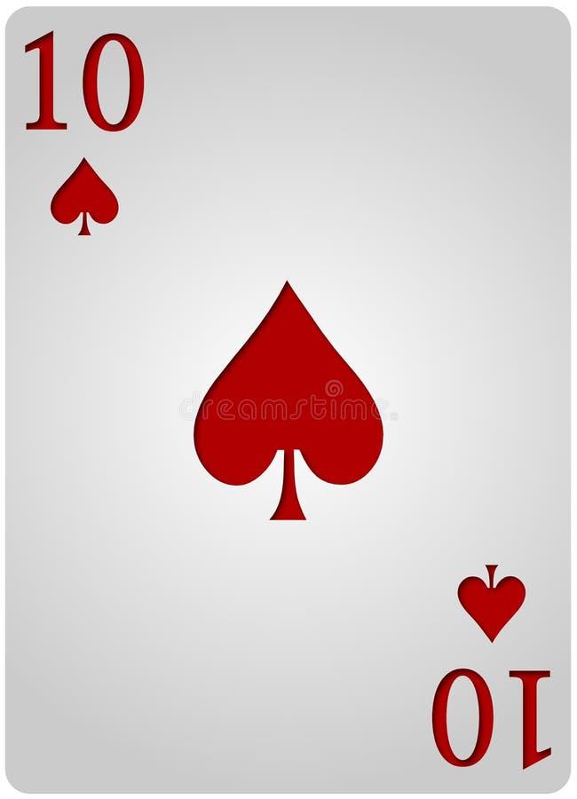 Poker för tio kortspadar vektor illustrationer