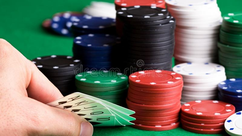 Poker game with chips on table stock photos