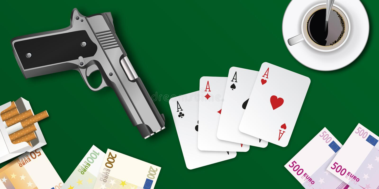 Poker game table seen from above with a pistol stock illustration