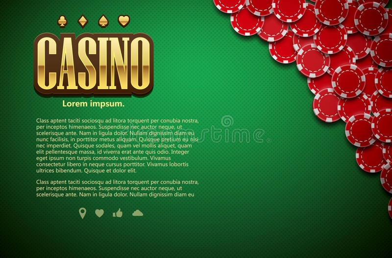 Poker green table cards and chips realistic theme top view. Vector illustration of poker green table cards and chips realistic theme top view place for text stock illustration