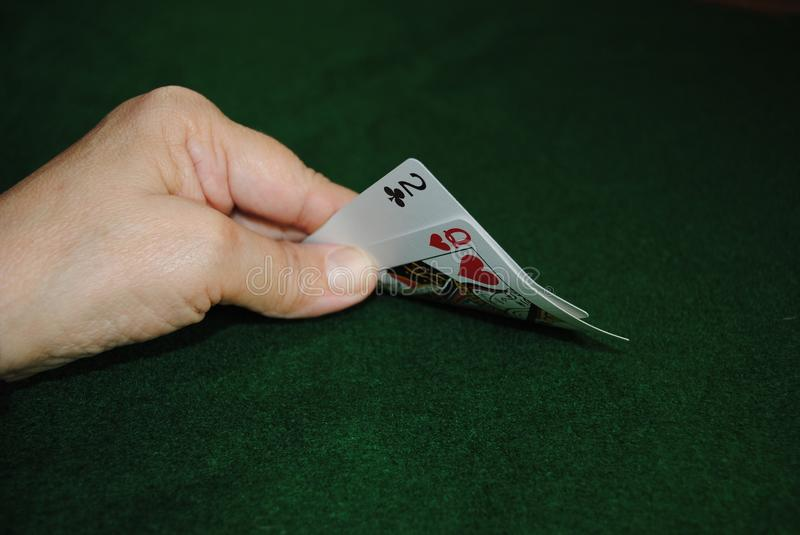 Poker Hand. Hole cards in a poker hand stock photos
