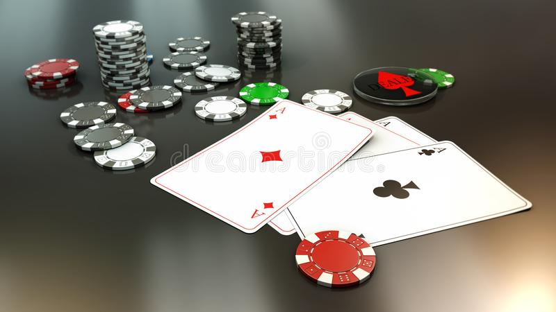 Poker hand with 4 aces. 3d rendering royalty free illustration