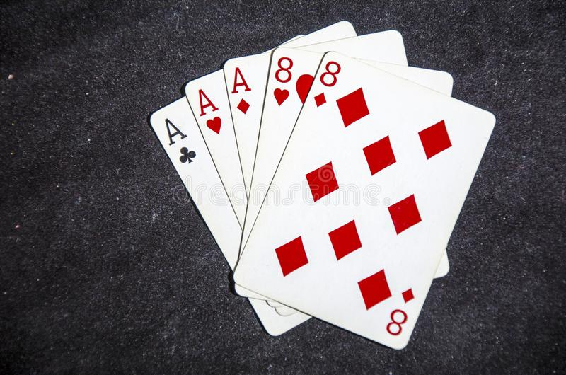 A poker hand know as the dead mans hand ace`s and eight`s. Playing card is a piece of specially prepared heavy paper, thin cardboard, plastic-coated paper royalty free stock photos