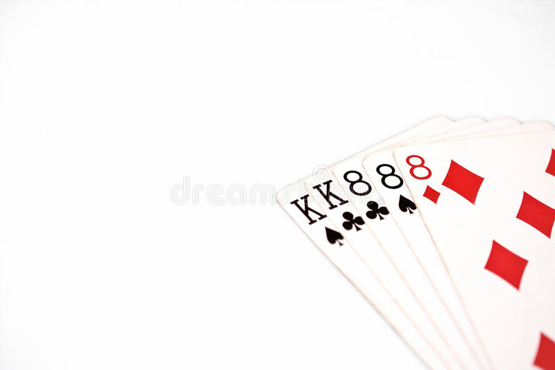 Poker hand rankings symbol set Playing cards in casino: full house on white background, luck abstract. Horizontal photo with copyspace royalty free stock photos