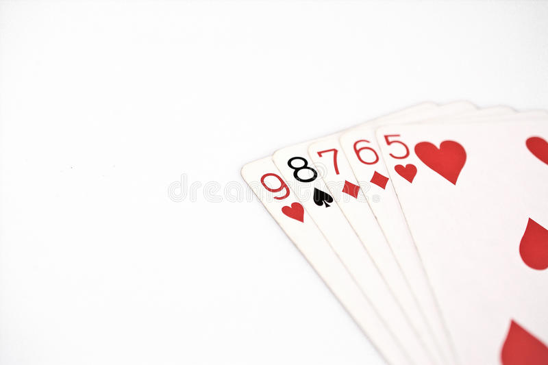 Poker hand rankings symbol set Playing cards in casino: straight on white background, luck abstract. Copyspace stock image