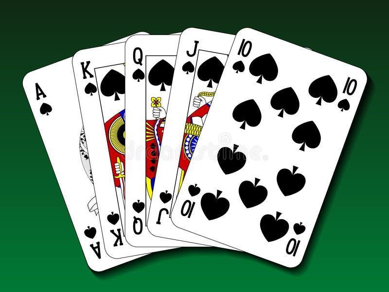 Poker-hand- Royal Flush-Spaten lizenzfreie abbildung