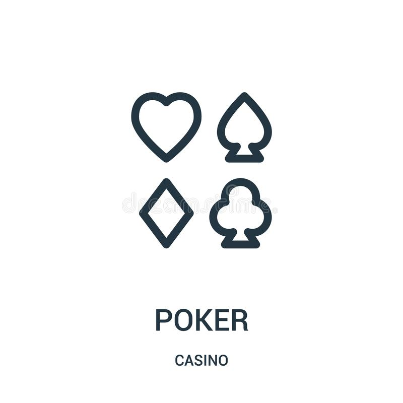 poker icon vector from casino collection. Thin line poker outline icon vector illustration stock illustration