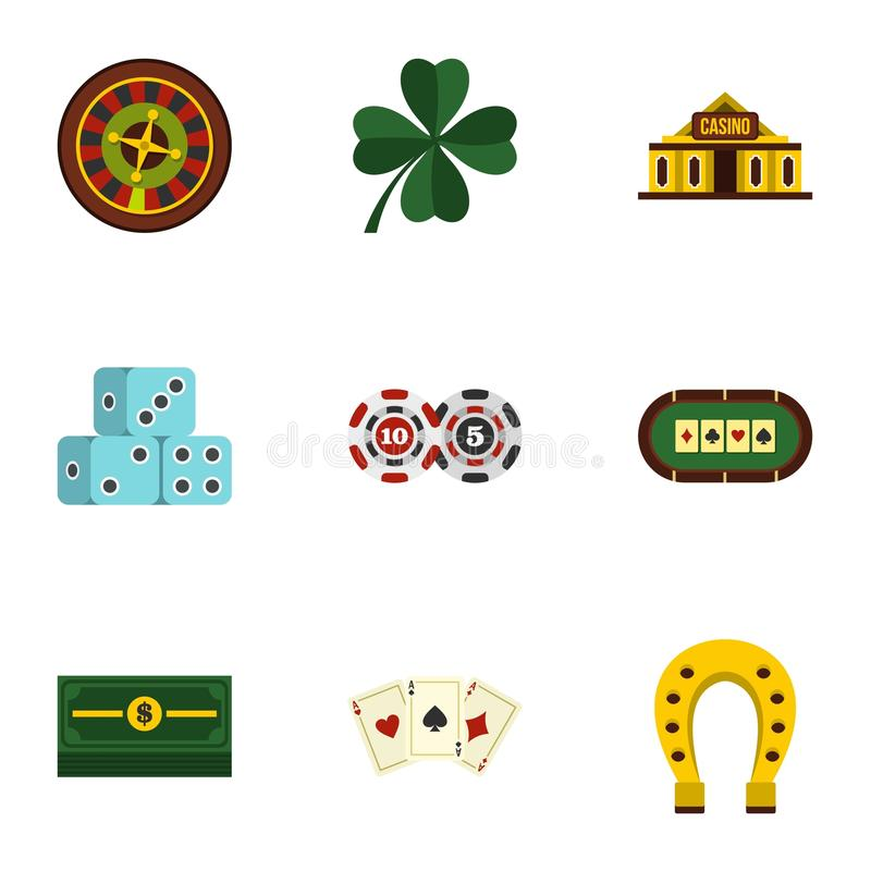 Poker icons set, flat style. Poker icons set. Flat illustration of 9 poker vector icons for web vector illustration