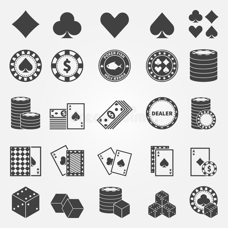 Poker icons set vector illustration