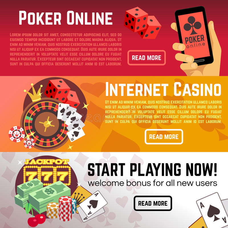 Poker online gaming lottery internet casino vector banners set stock illustration