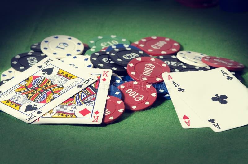 Poker Pareja de Ases y Pareja de Reyes en lizenzfreies stockfoto