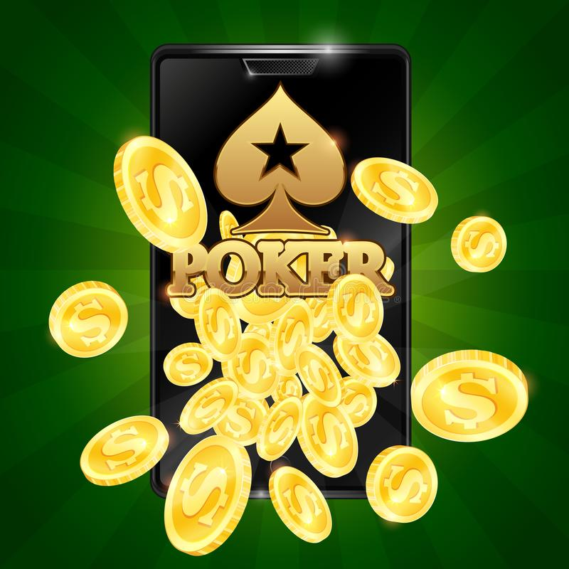 Poker in the phone and gold coins. Gold coins pour from poker phone vector illustration