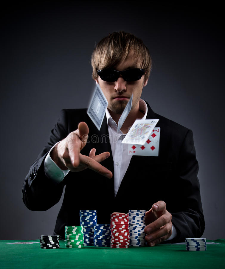 Poker player. Portrait of a professional poker player stock photography