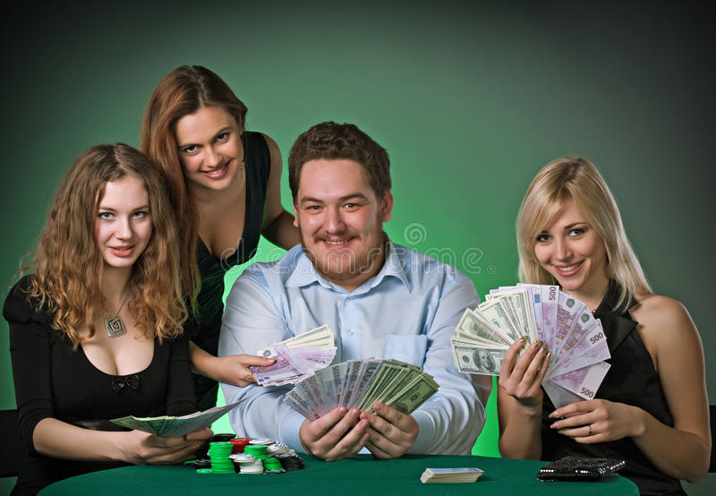 Download Poker Players In Casino With Cards And Chips Stock Photo - Image: 13536802