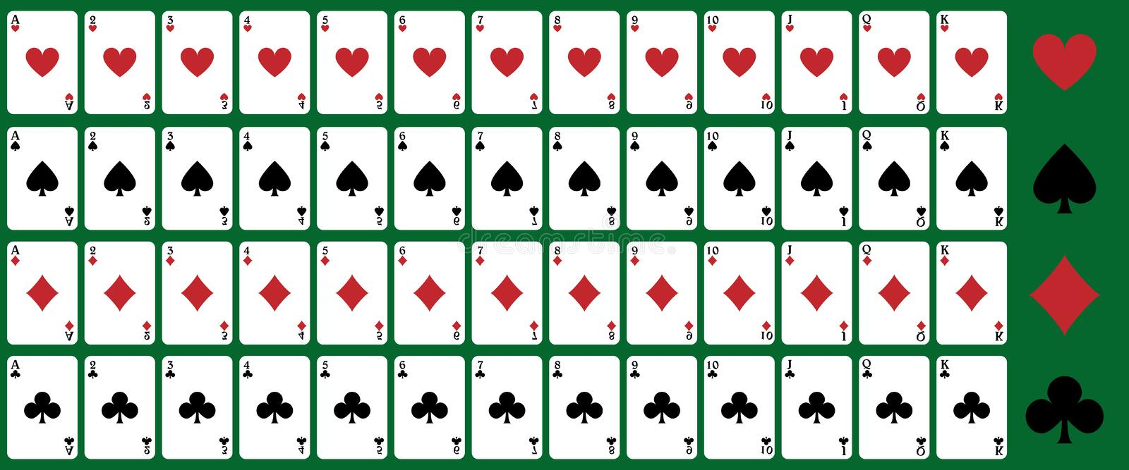 Poker playing cards. Set of playing cards for poker or blackjack,isolated on green background.EPS file available royalty free illustration