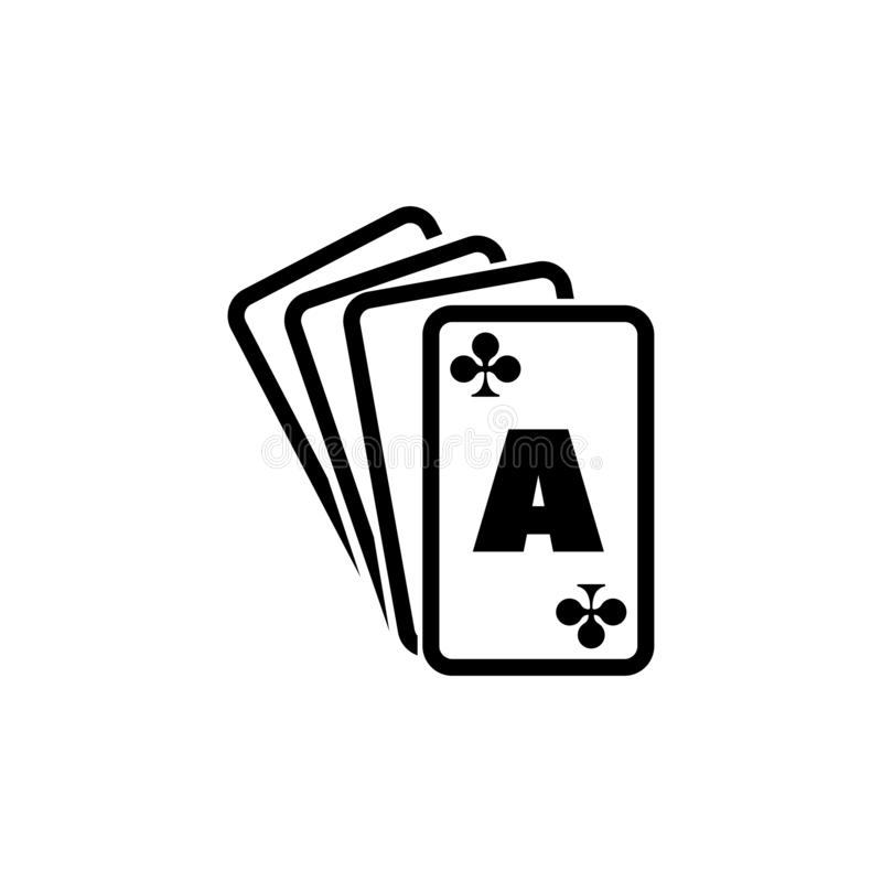 Poker Playing Cards, Ace Suits, Spade Royal Flat Vector Icon royalty free illustration