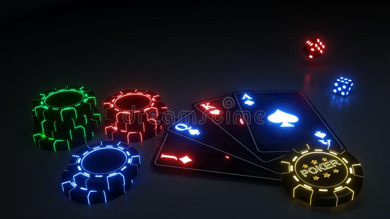 Poker Playing Cards And Casino Chips With Futuristic Neon Lights Isolated On The Black Background - 3D Illustration stock illustration