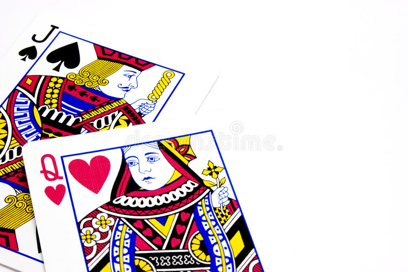 Poker Playing Cards - Jack Queen Lovers stock photo