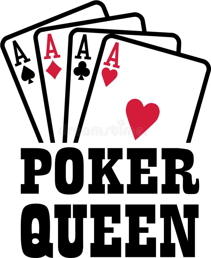 Poker queen with four aces playings cards suits. Vector stock illustration