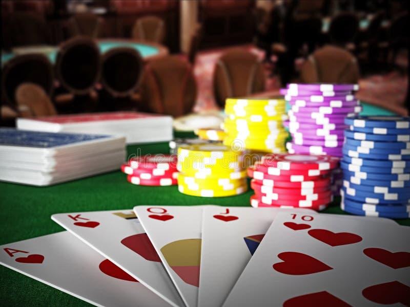 Poker royal flush hand and casino hands standing on poker table. 3D illustration stock illustration