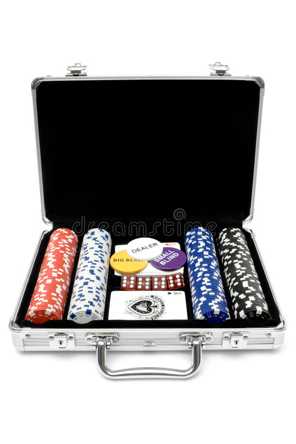 Poker Set. Poker cards, chips and dice in a metal case. Isolated on a white background stock images