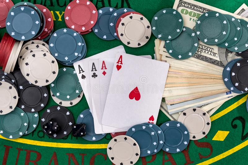 Poker set with money close up royalty free stock photography