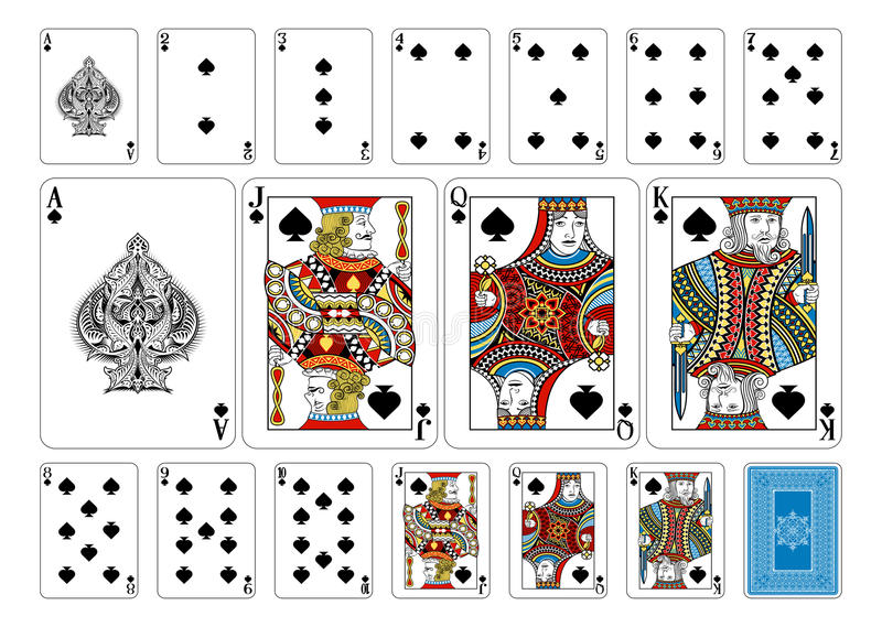Poker size Spade playing cards plus reverse vector illustration