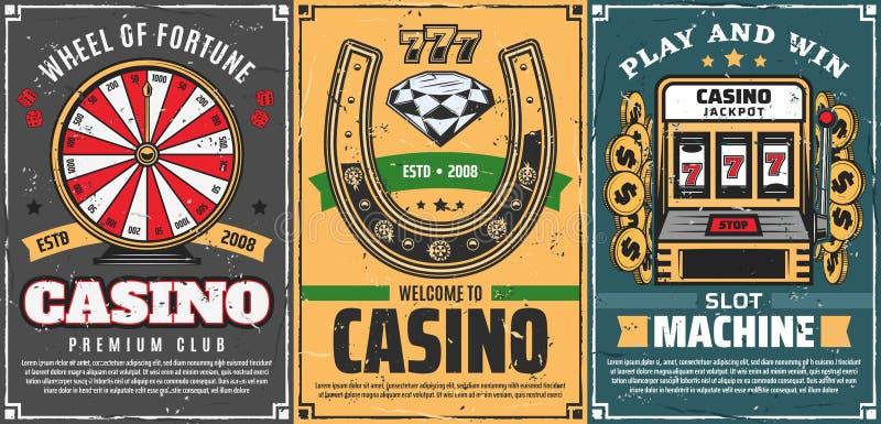 Poker, slot machine 777 in casino, lucky horseshoe. Casino gambling games, retro vector. Wheel of fortune, lucky horseshoe with diamond brilliant and slot vector illustration