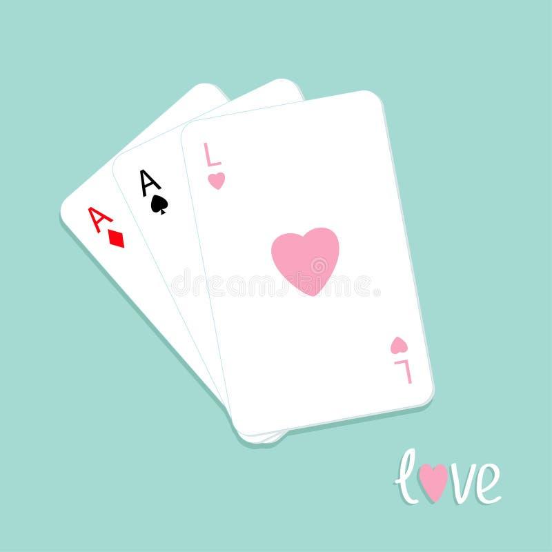 Poker som tre spelar kortet med överdängaren av den spade-, diamant- och för hjärtateckenförälskelse bakgrundslägenheten, planläg royaltyfri illustrationer
